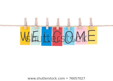 welcomewords hang by wooden peg stock photo © ansonstock