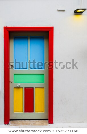 old blue wooden door stock photo © duoduo