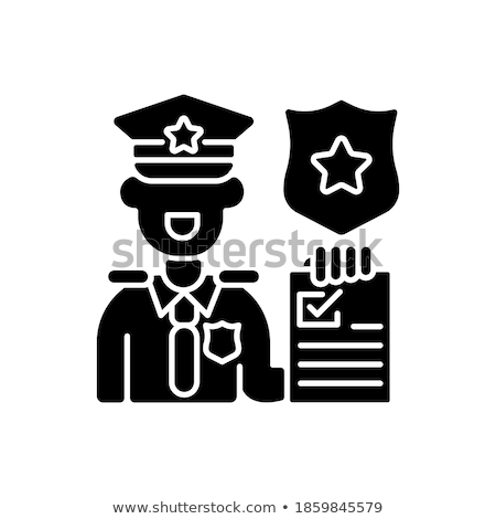 simple · droit · ordre · police · crime · icônes - photo stock © stoyanh