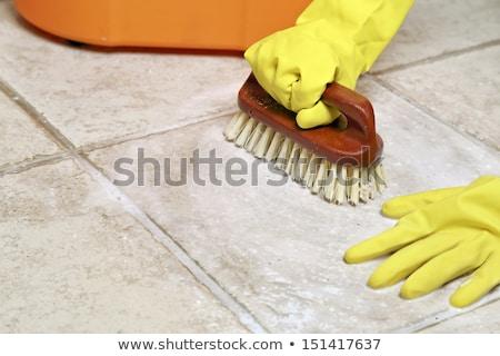 Zdjęcia stock: House Cleaning - Scrubbing Tiles