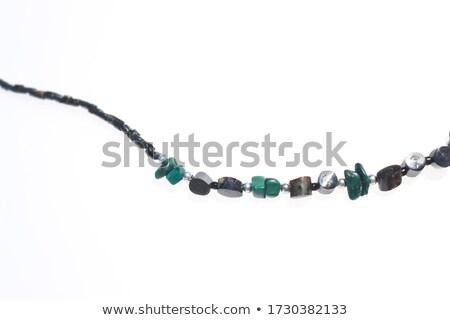oro · collar · azul · aislado · blanco · piedra - foto stock © petrmalyshev