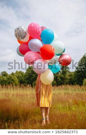 Mädchen Gras glückliches Gesicht hinter grünen Farbe Stock foto © zurijeta