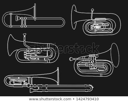 Tuba Baritone Euphonium Isolated on Black Stock photo © mkm3