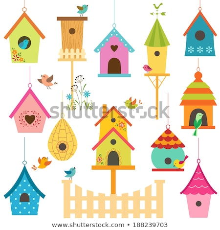 cute bird houses vector stock photo © beaubelle