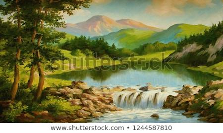 Живопись · пейзаж · синий · небе · лет · цветок - Сток-фото © stevanovicigor