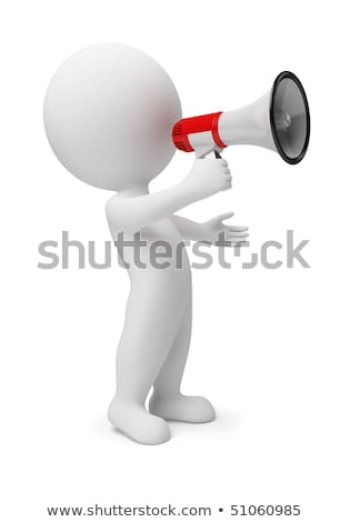 Stock photo: 3d small people - megaphone
