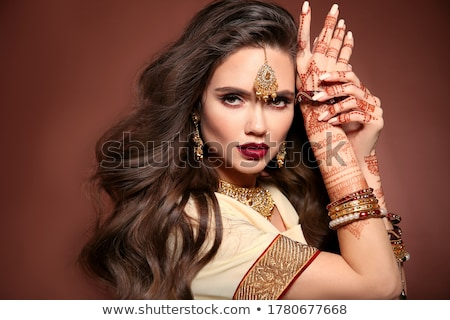Stock photo: portrait of woman with costume jewellery