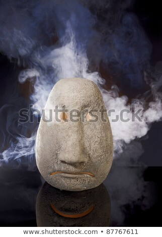 Illuminated Sad Ceramic Head Photo stock © PRILL
