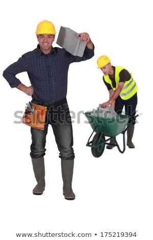 Compagno artigiano muratore brezza blocchi Foto d'archivio © xedos45