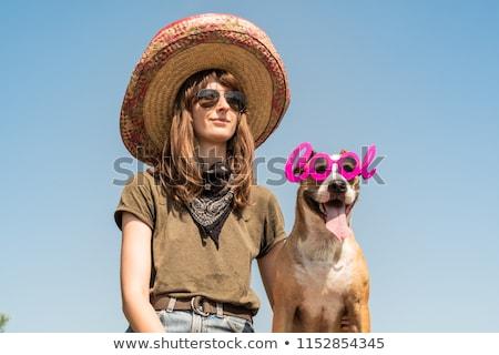 Mooi meisje gangster business vrouw mode Blauw Stockfoto © zybr78