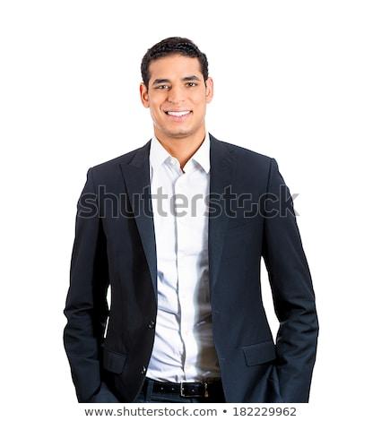 小さな · 赤 · ネクタイ · ビジネスマン · 笑みを浮かべて · 画像 - ストックフォト © dotshock