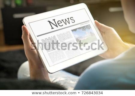 男 · 読む · ニュース · 格好良い · 小さな - ストックフォト © adamr