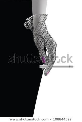 кабаре Lady сигарету Sexy черное белье курение Сток-фото © adamr