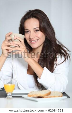 nő · fürdőköpeny · reggeli · mosoly · arc · kávé - stock fotó © photography33