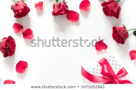 Stockfoto: Kunst · wenskaart · rode · rozen · geschenkdoos · bruiloft · partij