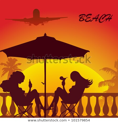 Stockfoto: Vector Silhouette Of A Girl With A Flower Under Palm Tree