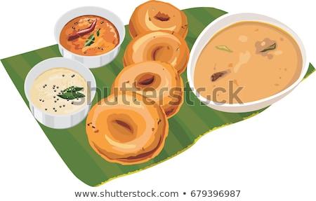 Indian plaque déjeuner banane feuille Photo stock © mnsanthoshkumar