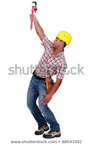 épület építkezés háttér farmer fehér szerszám Stock fotó © photography33
