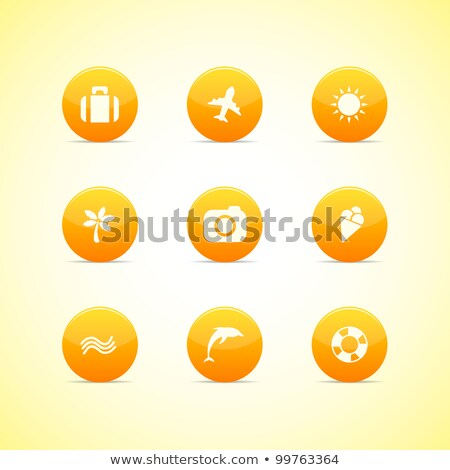 Set of orange icons: holiday theme stock photo © AnnaVolkova