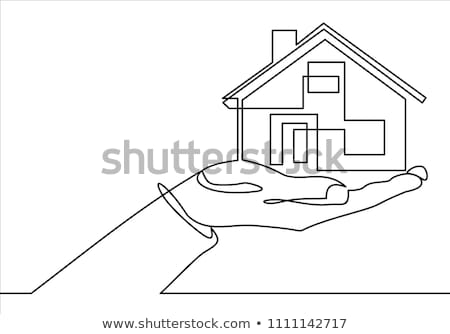 dessin · maison · humaine · mains · isolé · blanche - photo stock © vlad_star