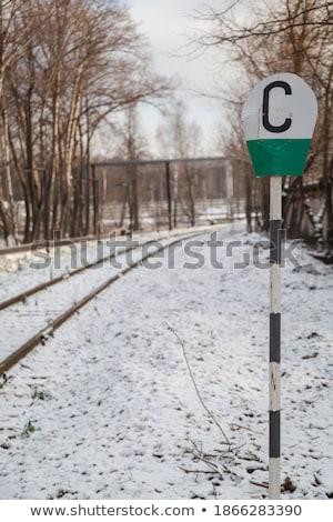 железная дорога трек признаков снега пейзаж предупреждение Сток-фото © kaycee