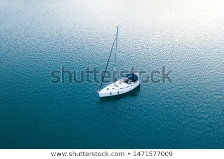 White yacht sails in the sea along the coast line Stock photo © 3523studio