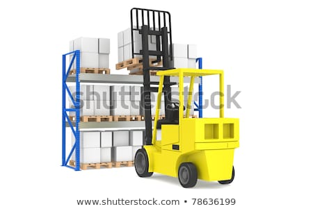 forklift and shelves forklift loading pallet rack part of a blue warehouse and logistics serie stock photo © johanh