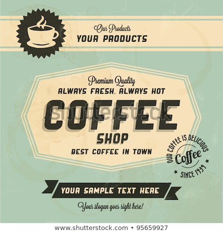 Vector grunge retro vintage background with coffee label stock photo © orson