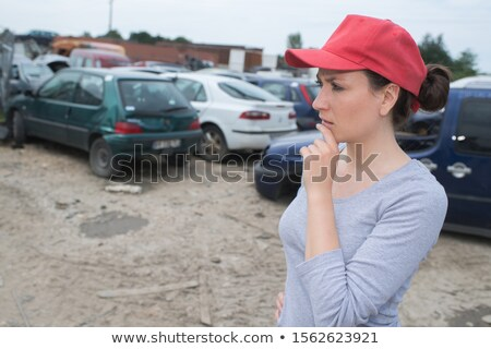 a female construction worker recycling scraps stock photo © photography33