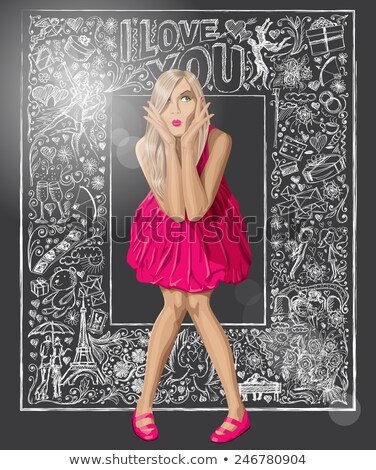 sketch surprised blonde in dress stock photo © leedsn