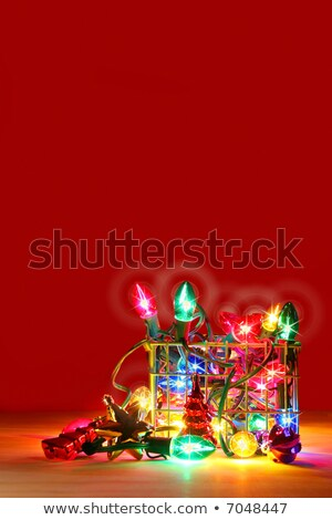Metal basket filled with lights for decorating Stock photo © Sandralise