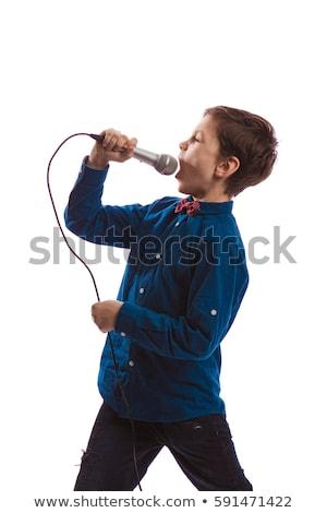 Zdjęcia stock: Brunetka · śpiewu · mikrofon · kobieta · radio · koncertu