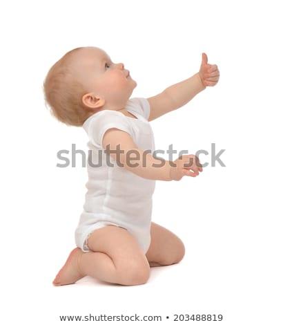 Stock fotó: örömteli · baba · felfelé · néz · fiú · nevet · copy · space