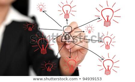 Woman Drawing Light Bulb On Whiteboard Stok fotoğraf © vichie81