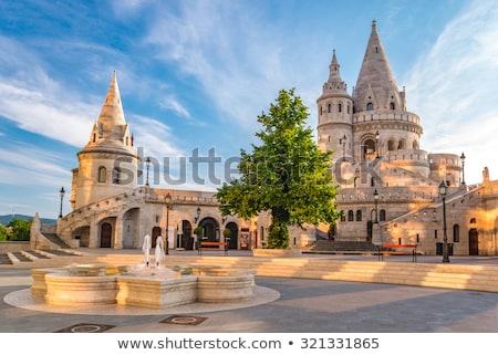 bastion · Budapeszt · Węgry · zamek · Hill · noc - zdjęcia stock © photocreo