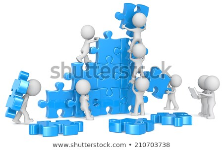 3d small people pushing puzzle stock photo © anatolym
