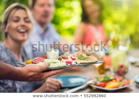 barátok · ebéd · együtt · otthon · étel · nők - stock fotó © photography33