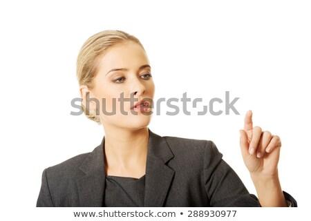 mão · empurrando · sucesso · botão · isolado · branco - foto stock © nobilior