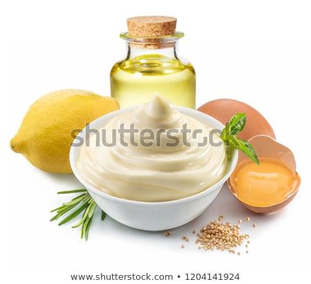 Mayonnaise with ingredients Stock photo © IngaNielsen
