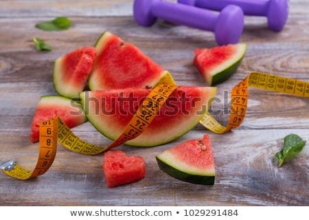 stuk · watermeloen · meetlint · voedsel · Rood · plant - stockfoto © vaeenma