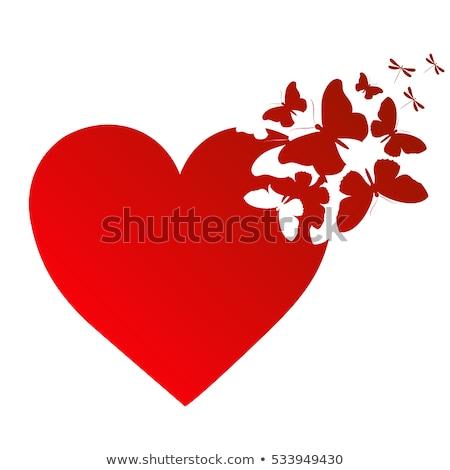 Kalp kelebekler arka plan kırmızı tatil Stok fotoğraf © Devor