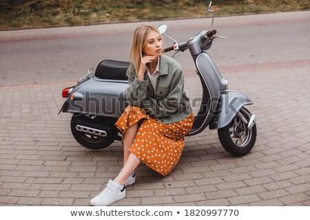 мотоцикл · девушки · сидящий · улице · велосипедов - Сток-фото © ssuaphoto