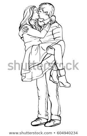 Cute · молодые · любящий · пару · позируют · изолированный - Сток-фото © acidgrey