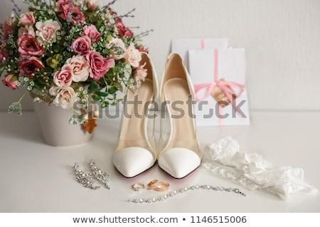 Noivas liga casamento mulher azul Foto stock © KMWPhotography