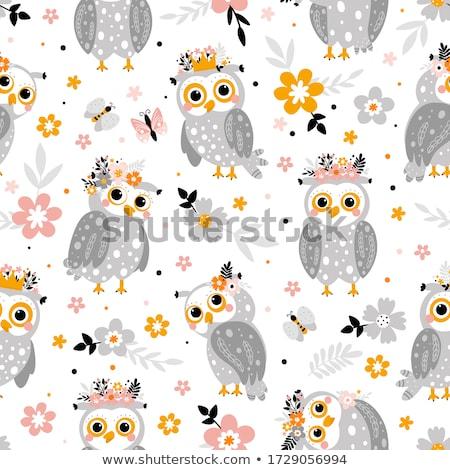 бесшовный совы шаблон моде аннотация птица Сток-фото © popocorn