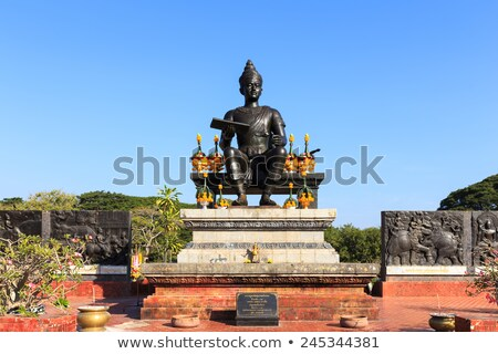 Statue of a Thai King in the Historical Park of Sukhothai Stock photo © bbbar