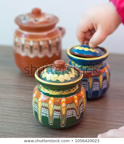 ceramic pot with lid glazed brown and green Stock photo © Zerbor