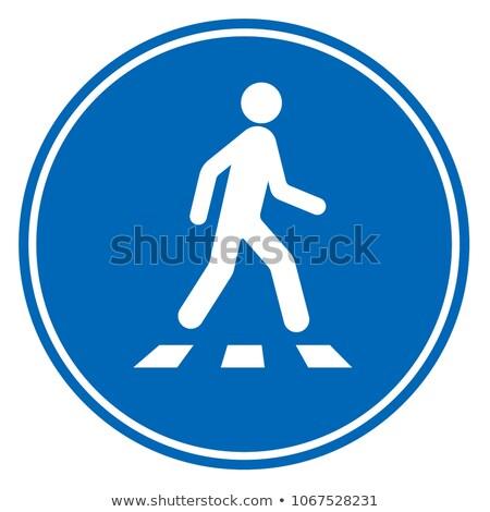 voetganger · verkeersbord · gebouwen · stad · teken · Blauw - stockfoto © stevanovicigor