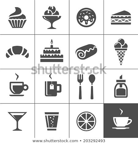 Cheesecake fincan kahve kaşık çilek Stok fotoğraf © doupix