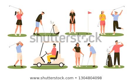 Golfa chmury sportowe piłka mężczyzna ruchu Zdjęcia stock © leonido